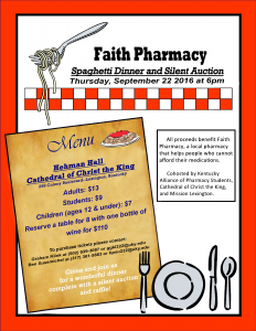 2016 Faith Pharmacy Spagetti Dinner Flyer Update